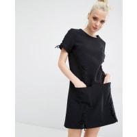 Kendall + KylieLattice Lace Short Sleeve Dress - Black