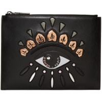 KenzoBlack Leather Embroidered Eye Pouch