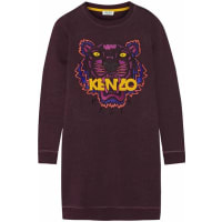 KenzoTiger Embroidered Cotton Sweatshirt Mini Dress - Plum