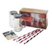 KilnerHandled Drinking Jar Glasses Lid and Straw Set