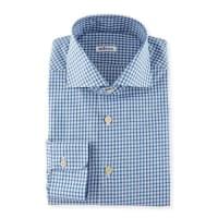 KitonBox-Check Woven Dress Shirt, Blue