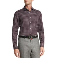 KitonCheck Dress Shirt, Gray/Red