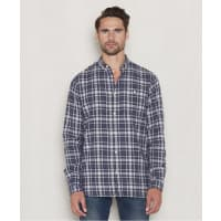 Knowledge Cotton ApparelCheckd Flanel Shirt 1091 Peacoat