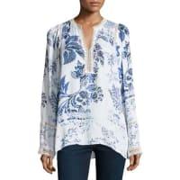 Kobi HalperinHadar Lace-Trim Printed Silk Blouse, Multi