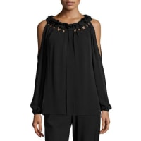 Kobi HalperinKayla Ruffled Jewel-Neck Cold-Shoulder Silk Blouse, Black