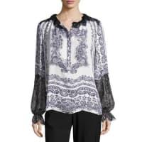 Kobi HalperinMyrina Lace-Trimmed Printed Silk Blouse, White Multi