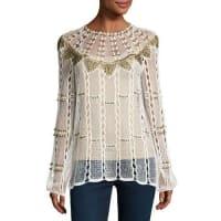 Kobi HalperinRikki Long-Sleeve Beaded Crochet Blouse, White