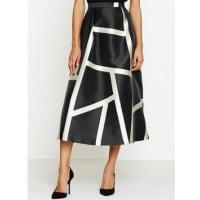 L.k. BennettAine Cream Print Full Midi Skirt - Black, Size 10