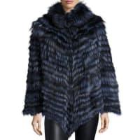 La FiorentinaFox Fur Poncho, Blue
