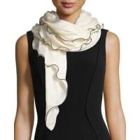 La FiorentinaRolly Scalloped Knit Cashmere Scarf, White/Black