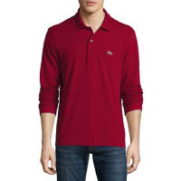 LacosteClassic Long-Sleeve Piqué Polo Shirt, Bordeaux