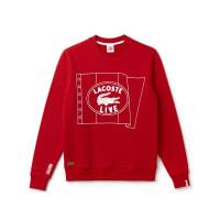 Lacoste L!veUnisex-Sweatshirt aus Fleece mit Flaggendesign LACOSTE L!VE