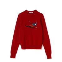 LacosteDamen-Rundhalspullover aus Wolle mit Stickmotiv Runway collection