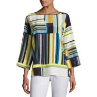 Lafayette 148 New YorkBateau-Neck Striped Silk Blouse, Multi