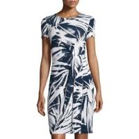Lafayette 148 New YorkBrushstroke Pleated Sheath Dress, Delft/White