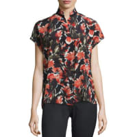 Lafayette 148 New YorkEloise Short Dolman-Sleeve Floral-Print Silk Blouse, Black Multi