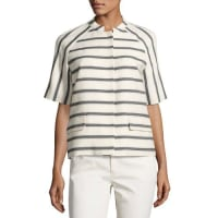 Lafayette 148 New YorkEthan Half-Sleeve Snap-Front Striped Jacket, Black/White