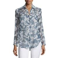 Lafayette 148 New YorkLeanne Silk Long-Sleeve Blouse, Blue Multi