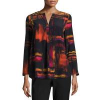Lafayette 148 New YorkSamantha 3/4-Sleeve Abstract-Print Silk Blouse, Black Multi