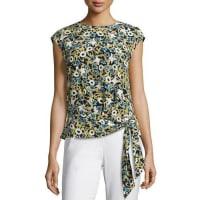 Lafayette 148 New YorkSeraphina Garden-Print Tie-Hem Silk Blouse, Multi