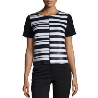 Lafayette 148 New YorkWilla Short-Sleeve Striped Top, Black