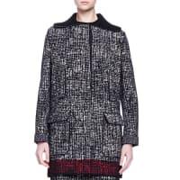 LanvinFaux-Fur-Trimmed Contrast-Bordered Tweed Coat