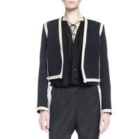 LanvinLong-Sleeve Two-Tone Cropped Jacket, Black/Ivory