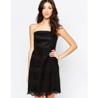 LavandBandeau Dress With Lace Skirt - Black