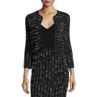 Lela RoseSpeckled Tweed Cropped Shrug, Black/Ivory