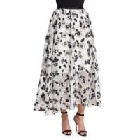 Lela RoseStamped-Floral Full Midi Skirt, Ivory/Black