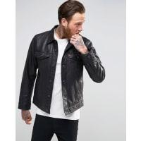 Levi'sBlack Leather Trucker Jacket - Black