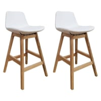 Life InteriorsParker White PU Wooden Bar Stool