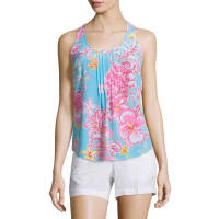 Lilly PulitzerDahlia Sleeveless Pleated Floral-Print Top