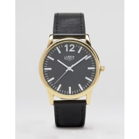 LimitBlack Leather Watch With Black Dial Exclusive To ASOS - Black