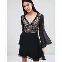 LipsyContrast Lace Bell Sleeve Skater Dress - Black