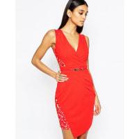 LipsyLace Cap Sleeve Belt Pencil Dress With Wrap Skirt - Red