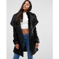 LipsyMichelle Keegan Loves Lipsy - Cappotto lussuoso a portafoglio con bordi in pelliccia sintetica - Nero
