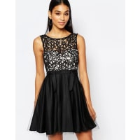 LipsyCutwork Lace Mini Prom Dress With Tulle Skirt - Black