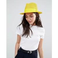 LiquorishStraw Trilby Hat With Ribbon - Mustard