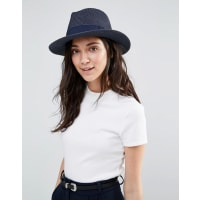 LiquorishStraw Trilby Hat With Ribbon - Navy blue