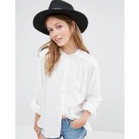 LiquorishWide Brim Fedora Straw Hat With Patterned Band - Black