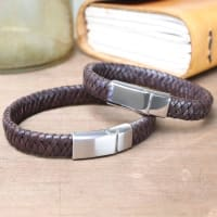 Lisa AngelMens Wide Brown Leather Bracelet