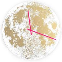 Little LarkGold Moon ClockWhite / Neon Pink