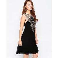 Little MistressApplique Tunic Dress - Black