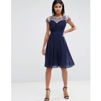 Little MistressEmbroidered Sweetheart Dress - Navy