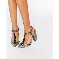 Little MistressGrace Glitter T-Bar Heeled Shoes - Gold