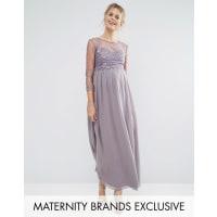Little Mistress MaternityLittle Mistress - Maternity - Maxikleid mit Lage und Blumenapplikation - Grau
