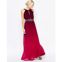 Little MistressOmbre Maxi Dress with Embellished Waist - Cherry