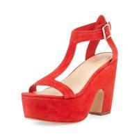 Loeffler RandallMinette Suede Platform Sandal, Poppy