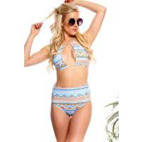 LolliCoutureaqua orange center opening multi print hi waist bottoms two piece swimsuit